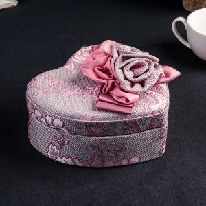 "Шкатулка ткань для украшений сердце ""Розовые розы"" 7х17,5х16 см 3094173"