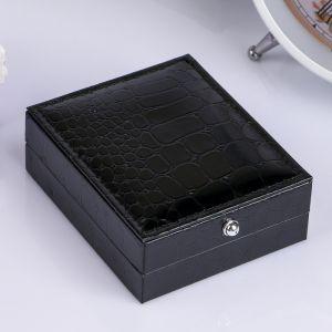 "Шкатулка кожзам для запонок ""Чёрный крокодил"" 3х8х6,8 см 3094128"