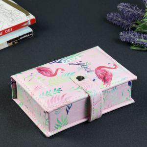 "Шкатулка кожзам для украшений ""Фламинго"" 4,5х15,5х10,5 см   4316606"