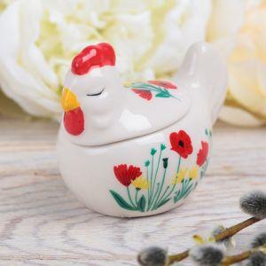 Пасхальная шкатулка-курочка «Цветы»