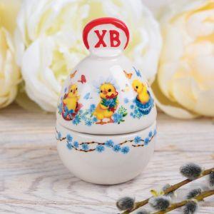 Пасхальная шкатулка-яйцо «Цыплята»