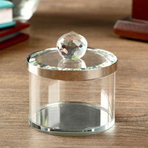 """Шкатулка стекло с металлическим ободком """"Серебро"""" 7х6,5х6,5 см   4453204"""
