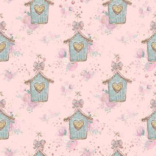 Хлопок Перкаль Скворечники на розовом 50х37