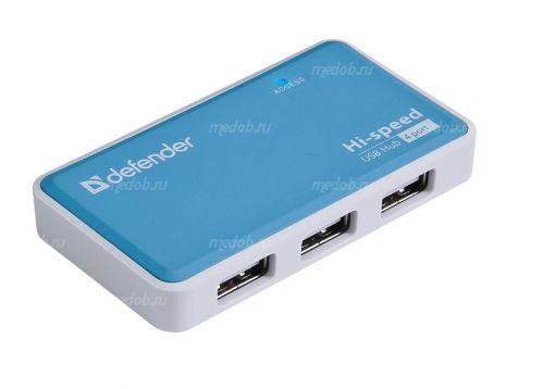 Хаб Defender Quadro Power 4 порта, USB 2.0, 2А (Blue)