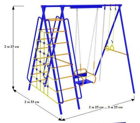 Непоседа-Дачник Модель № 5 с качелями на подшипниках/цепях Ширина Наклонных лестниц - 530 мм.