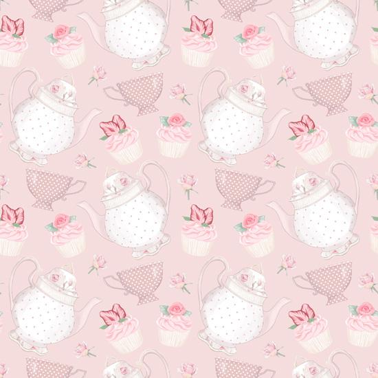 Хлопок Перкаль Чайнички на розовом 50х40