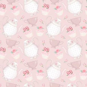 Хлопок Перкаль Чайнички на розовом 50х37