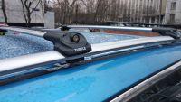 Багажник на крышу Nissan Qashqai, Turtle Air 1, аэродинамические дуги на рейлинги (серебристый цвет)