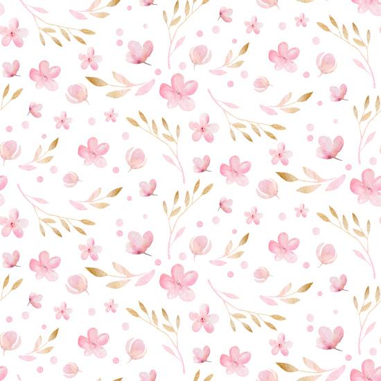 Хлопок Перкаль Акварельные цветочки 50х37