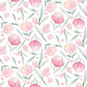 Хлопок Перкаль Акварельные тюльпаны 50х37