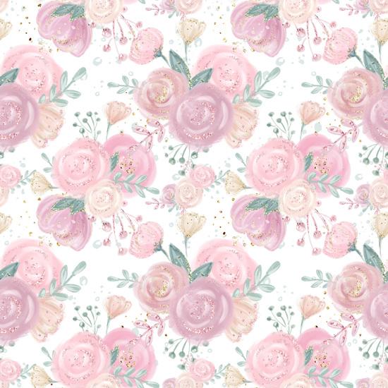 Хлопок Перкаль Уютные цветы на белом 50х37