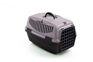 Переноска Stefanplast Gulliver 2 пудровая до 8 кг с пластиковой дверкой 55х36х35см для кошек и собак