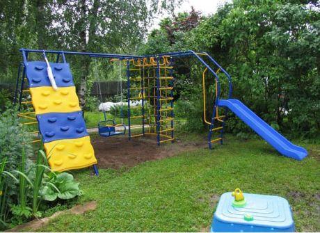 Уличный детский спортивный комплекс - Модель № 7 со скалодромом и дополнительным модулем с горкой 2,0 метра к П-обр конструкции, как продолжение