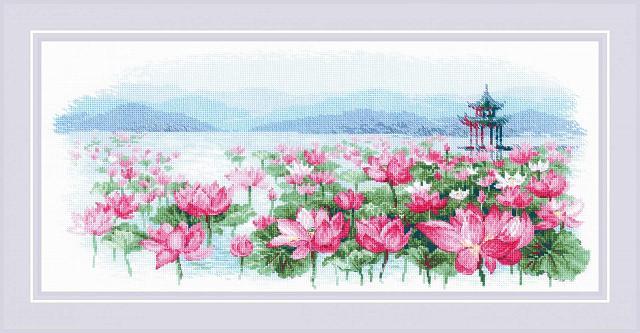 Набор для вышивания Поле лотосов. Пагода на воде РИОЛИС (1869)