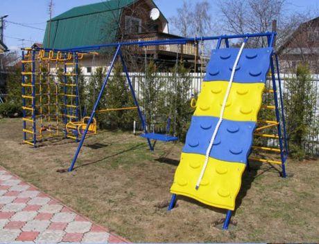 Уличный детский спортивный комплекс - Модель № 7 со скалодромом, ДВУМЯ качелями на подшипниках/цепях