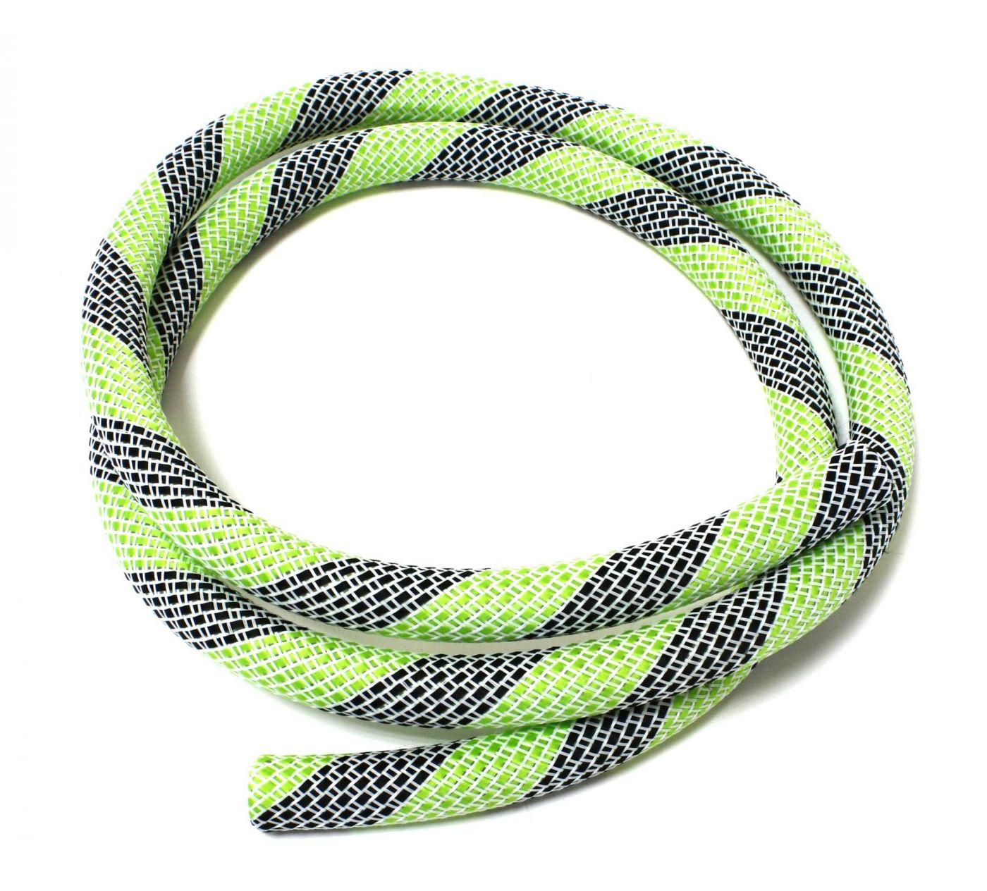 Шланг силиконовый в оплетке Kaya (бело-зеленый с черным)