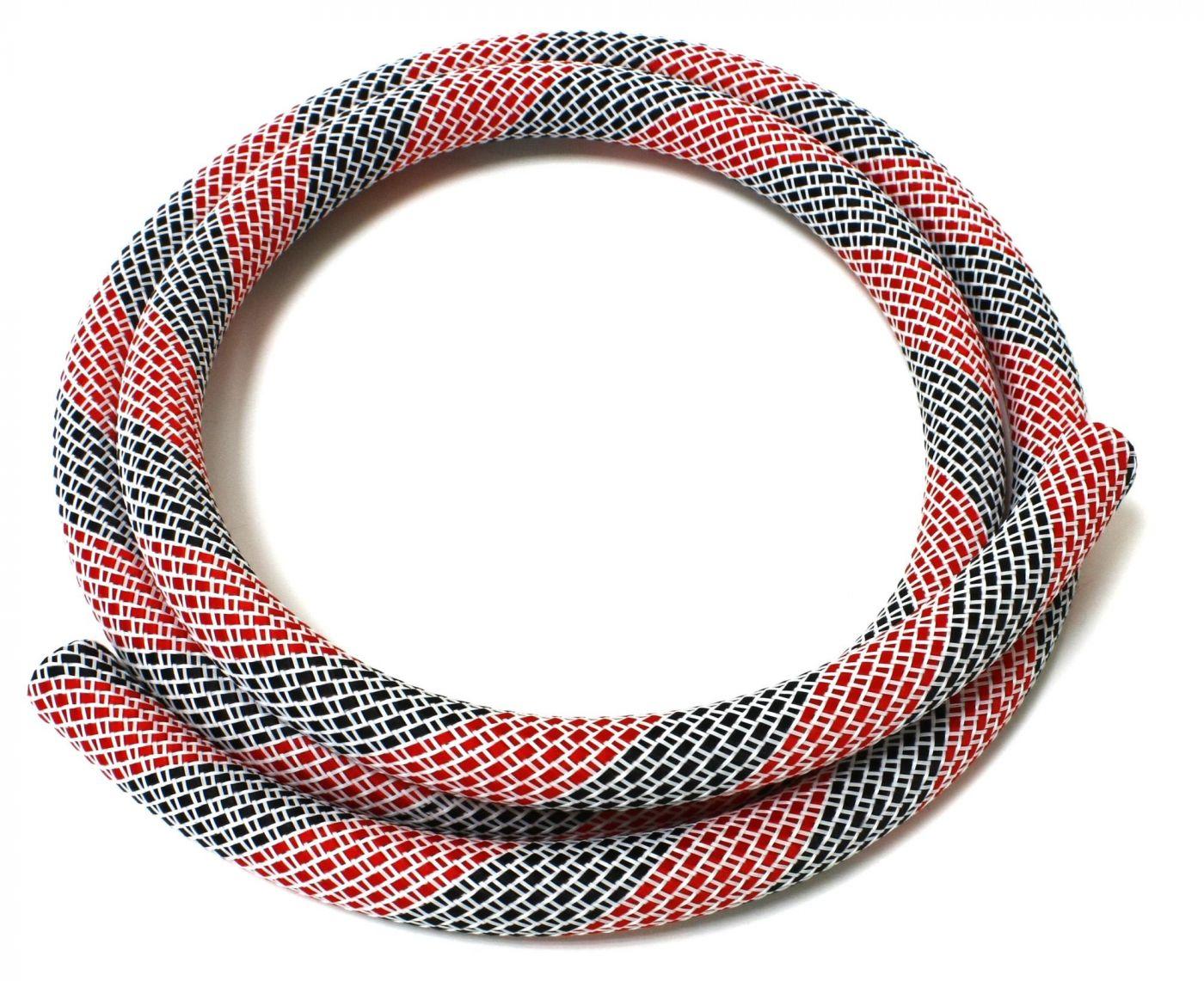 Шланг силиконовый в оплетке Kaya (бело-красный с черным)