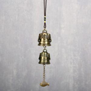 """Колокольчик металл """"Слоны"""" 2 колокольчика d=4,2 и d=3,8 см 29х4,2х4,2 см   4295799"""