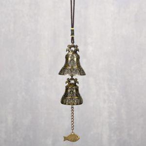 """Колокольчик металл """"Феникс и будда"""" 2 колокольчика d=5 и d=4,2 см 29х5х5 см   4295800"""