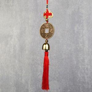 """Колокольчик металл """"Феникс и дракон на монете с узлом счастья"""" h=2,8 см 30х6,3х2,8 см   4453323"""