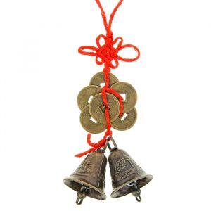 Колокольчики на подвеске с узлом счастья и шестью монетами под бронзу