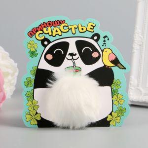 """Пушистик на кольце """"Счастливая панда"""" 8х8х8 см   2870350"""