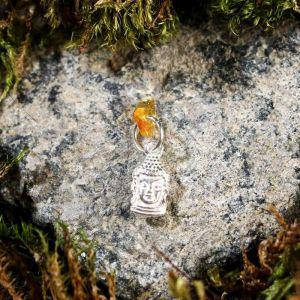 """Брелок-талисман """"Будда"""", натуральный янтарь, посеребрение 5088731"""