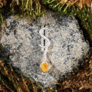 """Брелок-талисман """"Ложка. Доллар"""", натуральный янтарь, посеребрение 5088729"""
