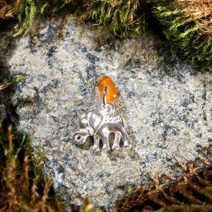 """Брелок-талисман """"Слон"""", натуральный янтарь, посеребрение 5088730"""