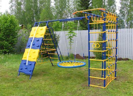 Уличный детский спортивный комплекс - Модель № 9 со скалодромом и качелями-гнездо