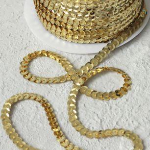 Пайетки на нитях, 6 мм золотые