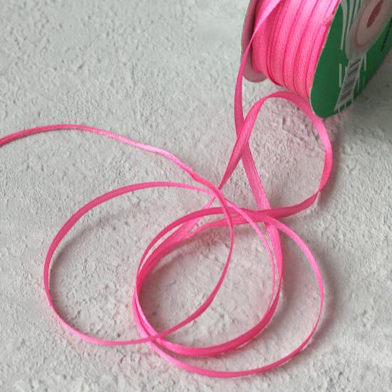 Лента атласная 3 мм, ярко-розовый