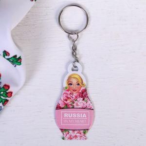 Брелок-матрёшка «Розовые цветы»