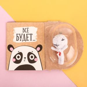 Брелок с открыткой «Панда», кукла буду
