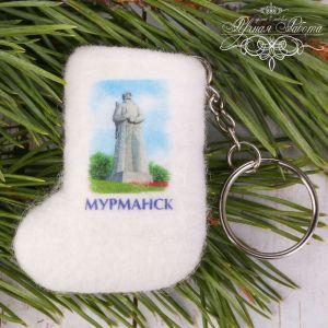 Брелок-валенок ручной работы «Мурманск. Памятник Алёша»