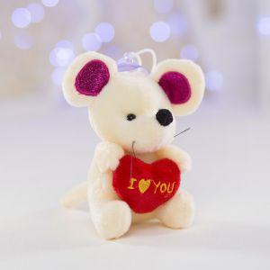 Мягкая игрушка «Мышка с сердцем», на присоске, цвета МИКС