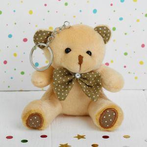 Мягкая игрушка-брелок «Мишка», бант в горошек, цвета МИКС