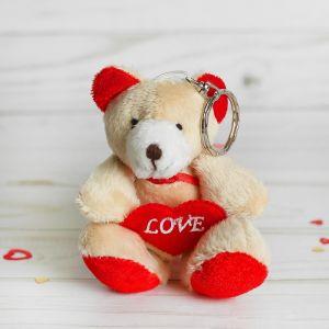 Мягкая игрушка-брелок «Мишка», с красным сердцем, цвета МИКС