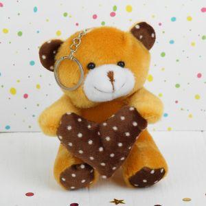 Мягкая игрушка-брелок «Мишка», сердце в горошек, цвета МИКС