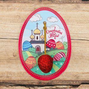 Пасхальная подвеска-яйцо на открытке «Деревушка»