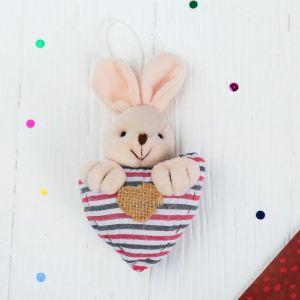 Мягкая игрушка-подвеска «Заинька с сердцем», в полосочку, цвета МИКС