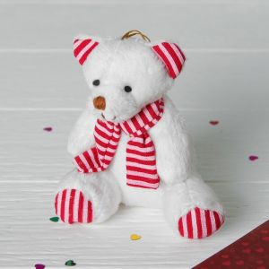 Мягкая игрушка «Белый мишка в шарфике», цвета МИКС