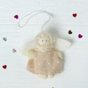 Мягкая игрушка-подвеска «Ангелок белые волосы, платье в горошек», цвета МИКС