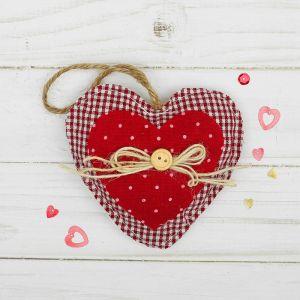 Мягкая игрушка-подвеска «Двойное сердце», бантик с пуговкой, цвета МИКС