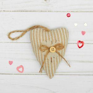 Мягкая игрушка-подвеска «Двойное сердце», с пуговкой и бантиком, цвета МИКС