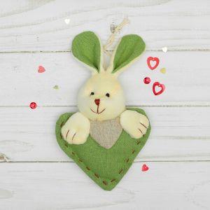 Мягкая игрушка-подвеска «Заинька», прошитое сердце, цвета МИКС