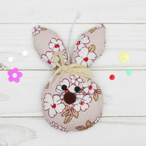 Мягкая игрушка-подвеска «Зайка», в цветочек, цвета МИКС