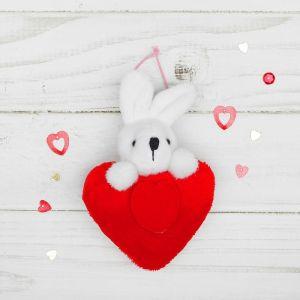 Мягкая игрушка-подвеска «Зайка», двойное сердце, цвета МИКС