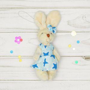 Мягкая игрушка-подвеска «Зайка», звезды на одежде, цвета и виды МИКС