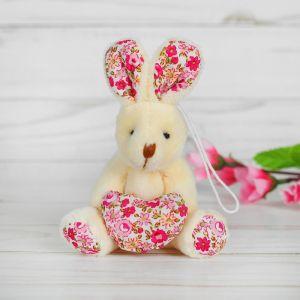 Мягкая игрушка-подвеска «Зайка», сердце и ушки в цветочек, цвета МИКС